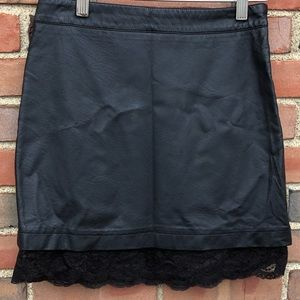 Forever 21 Faux Leather and Lace Mini Skirt Small